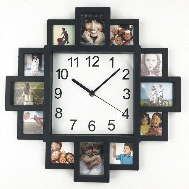 2016 Новый DIY Настенные Часы Современный Дизайн Home Decor Фото Frame Clock Plastic Art Pictures Часы Уникальный Клок Home Decor Horloge