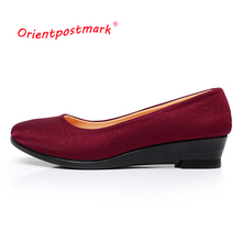Women Wedges Shoes Women Shoes for Work Cloth Wedges Sweet Loafers Slip On Women's Pregnant Wedges Shoes Oversize Boat Shoes(China)