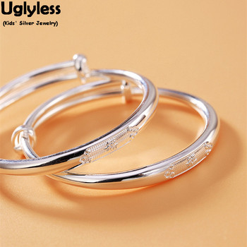 Uglyless Novelty Kids 1 pair Silver Jewelry 99.9% Full Silver Push-pull Bangles for New Born Baby Gifts Adjustable Glossy Bangle
