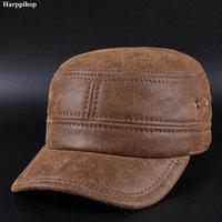 Korean Casual Leather Hat Scrub Leather Kepi Ear Warm Hat Peaked Cap
