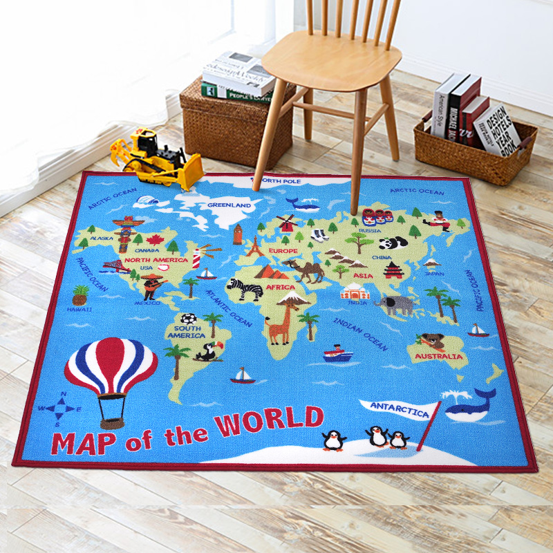 Cute World Map Pattern Baby Play Mats Developing Crawling Rug Carpet Educational Toys Kids Room Home Decor Boys Gifts Props sand shell starfish pattern floor area rug