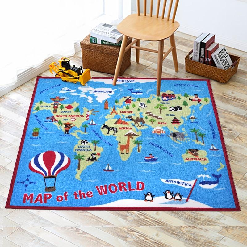 Modèle de carte du monde mignon tapis de jeu de bébé développer tapis rampant tapis jouets éducatifs chambre d'enfants décor à la maison garçons cadeaux accessoires