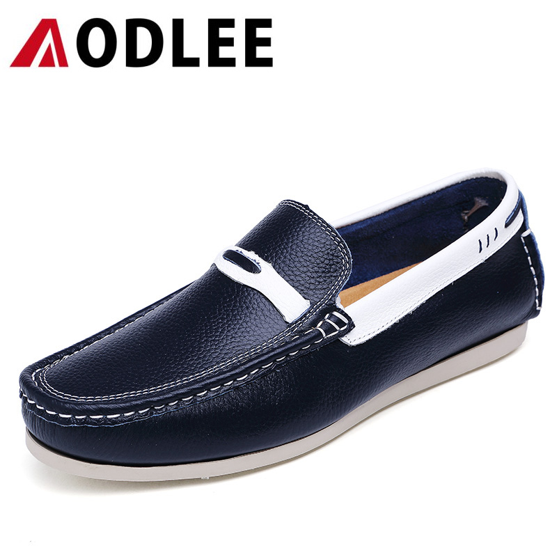 AODLEE Mens Loafers Genuine Leather Slip on Superstar Fashion Casual Mens Shoes Men's Flats Shoes Driving Shoes Zapatos Hombre fashion nature leather men casual shoes light breathable flats shoes slip on walking driving loafers zapatos hombre