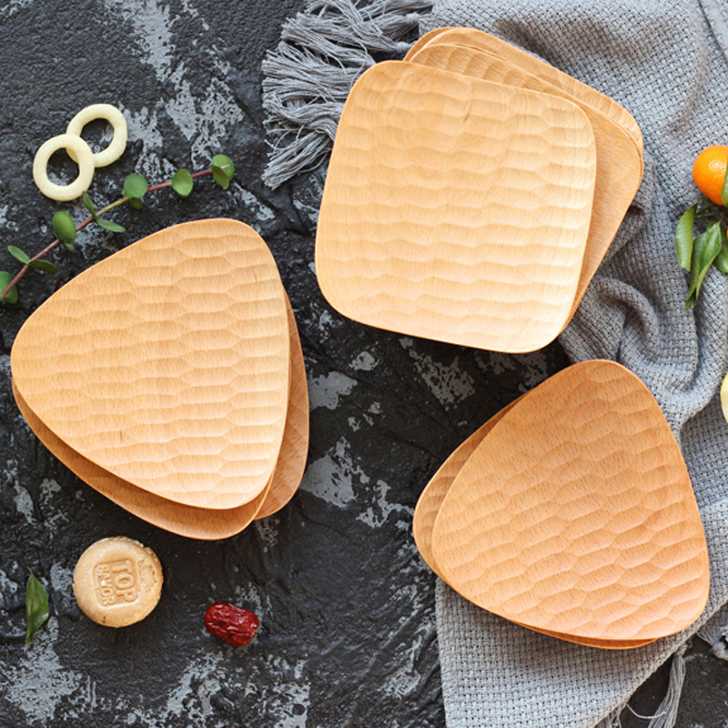 Natural Hand-made Wooden Plate Small Wood Trays Mini Deesert Snack Cake Dishes Serving Plates Wooden Tableware Kitchen Utensils (1)