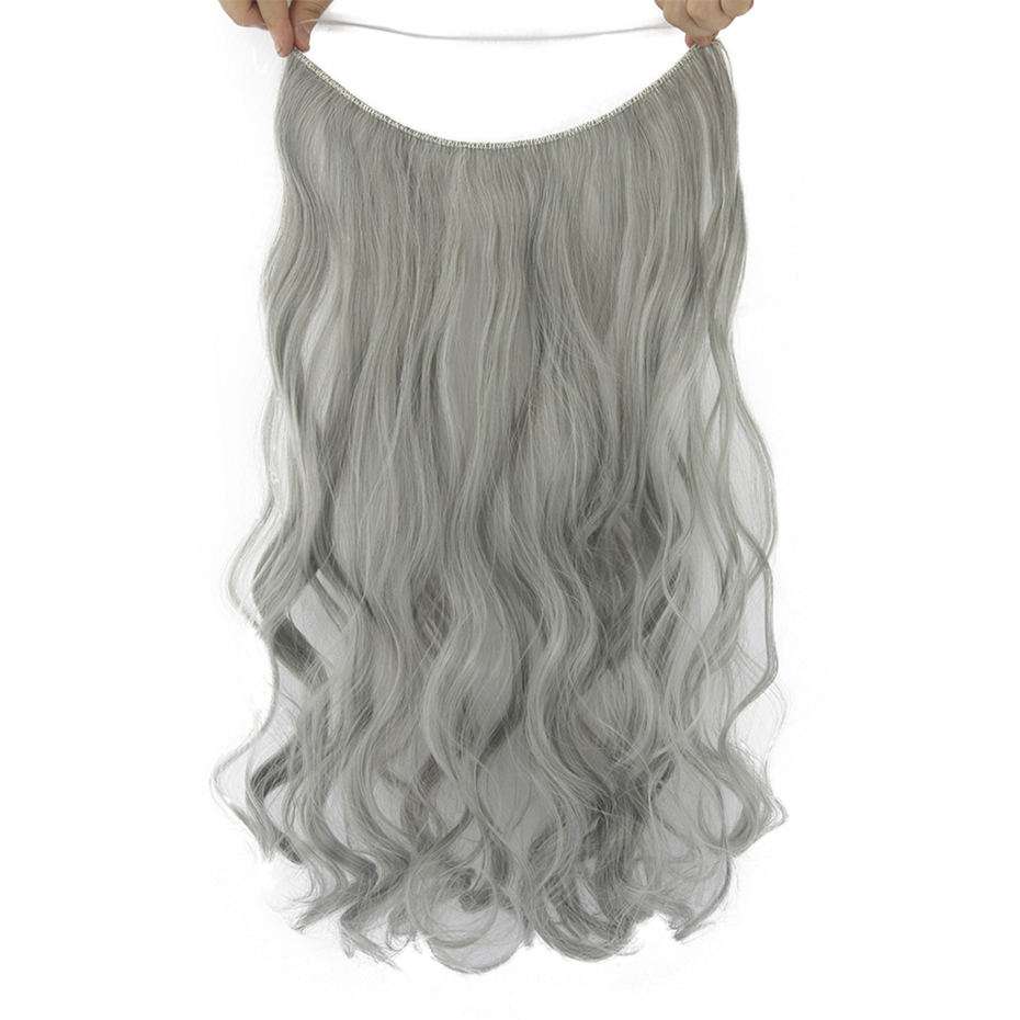 Soowee 10 Colors 24'' Long Gray Blonde Synthetic Hair Heat Resistant Hairpieces Fish Line Halo Invisible Wavy Hair Extension