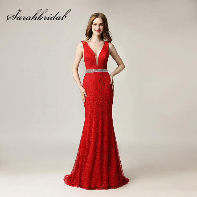 74679cd660e2 Sexy Deep V-Neck Red Evening Dresses 2018 Lace Beading Long Mermaid Prom  Dress Sweep