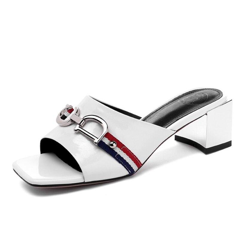 Pantoufles femmes été Sliders chaussures en cuir diapositives femmes poisson bouche métal décoration mode épais talon pantoufles-in Pantoufles from Chaussures    3