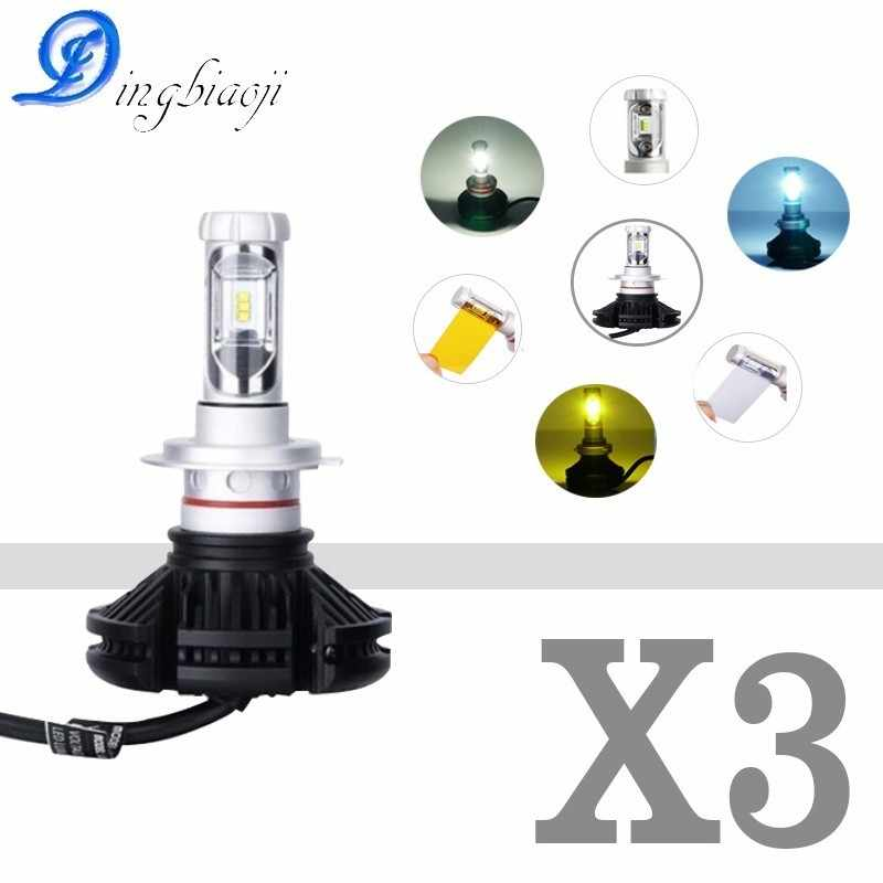 Super Bright 50W 12000lm  6500K S1 All in one X3 Auto LED Del Faro Auto 6000lm Lampadina H4 H7 H8 H11 H9 H1 H3 9005/HB3 9006/HB4