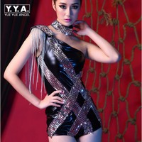 Unilateral Sexy Costumes Ds Women Fashion Hip Hop Drummer Play Dance Dj Singer Stage Performance Wear Sequin Tassel Jumpsuits