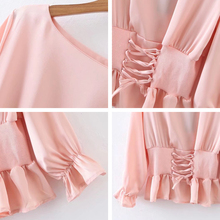 Women O neck belted lace up pink satin long sleeves blouse