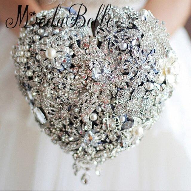 Бисером форме Сердца Брошь Свадебный Букет Bling Жемчужный Свадебный Букет Горный Хрусталь Хрустальный Цветок Bruidsboeket Вур Bruiden