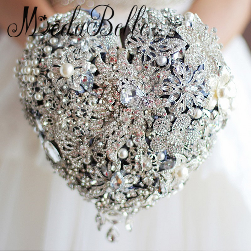 Wedding Bouquet Crystal Flowers: Beaded Heart Shaped Brooch Wedding Bouquet Bling Luxury