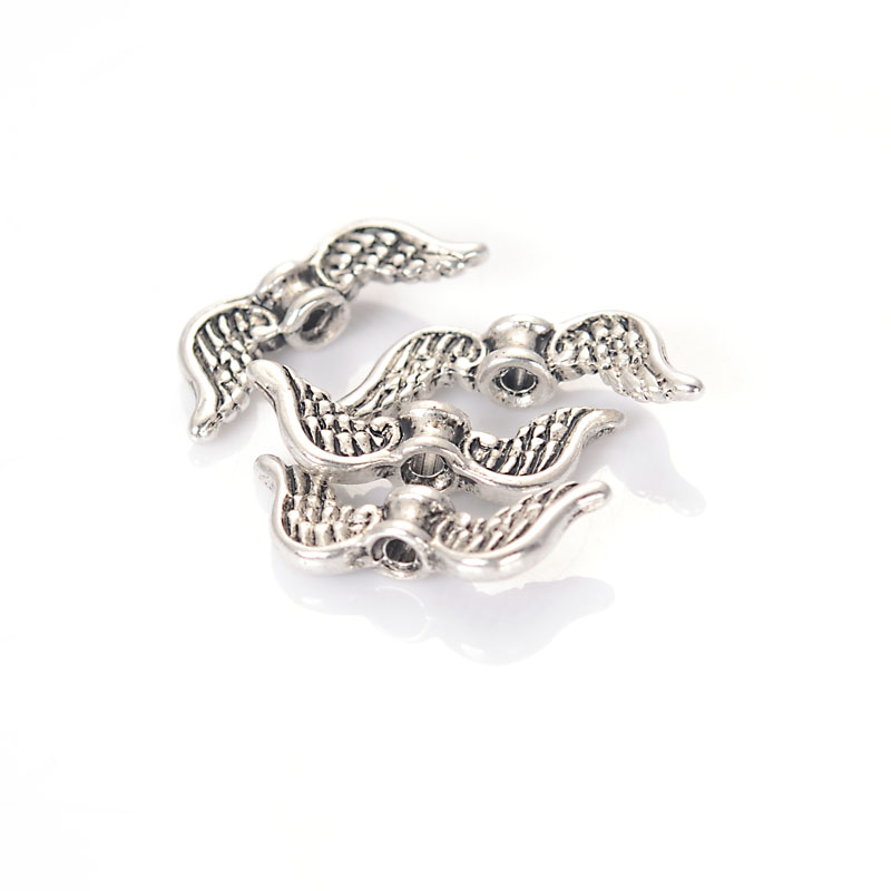 Melia 50 шт. античное серебро Цвет подвеска в форме ангельских крыльев Распорки бусины 20×8 мм для Diy ювелирных изделий интимные аксессуары