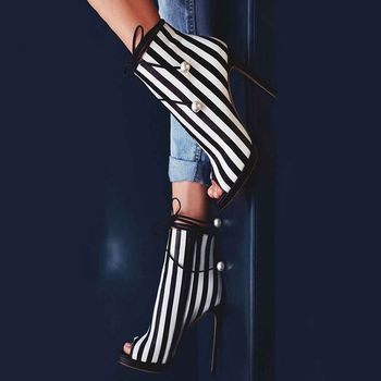 Abesire Women Fashion Mixed Color Strip Stiletto High Heels Sandals Boots Ladies Peep Toe Ankle Strap Shoes Woman Ankle Boots фото