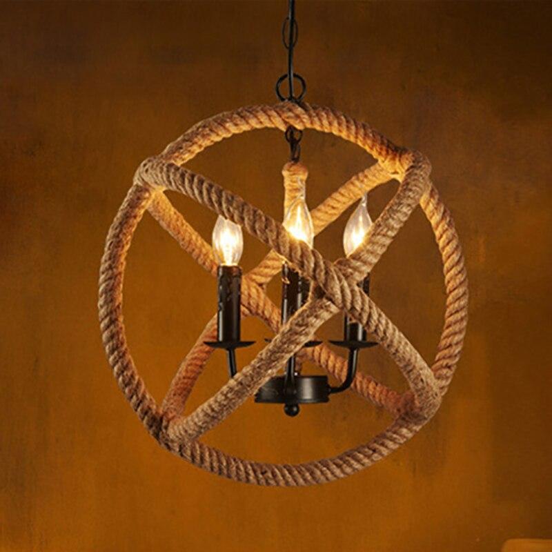 Loft Style nordique rétro vintage magasin de vêtements café Hall corde lustre lampe industrielle répliquer restauration matériel lumière