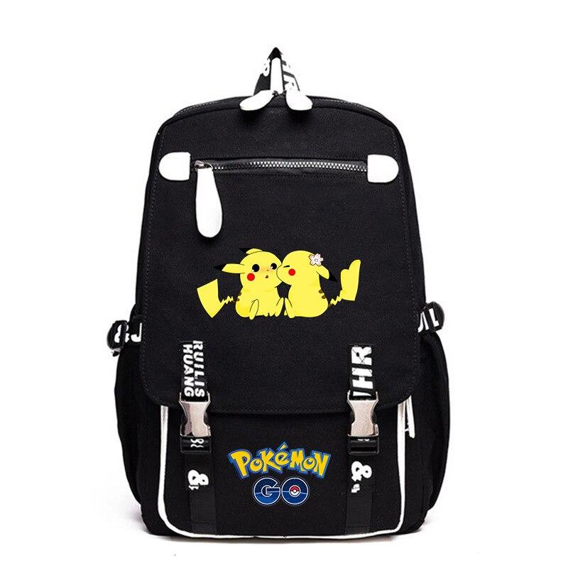 Nouveau Anime écureuil Pikachu Charmander Gengar garçon fille sac d'école femmes sac à dos adolescents cartable toile hommes étudiant sac à dos
