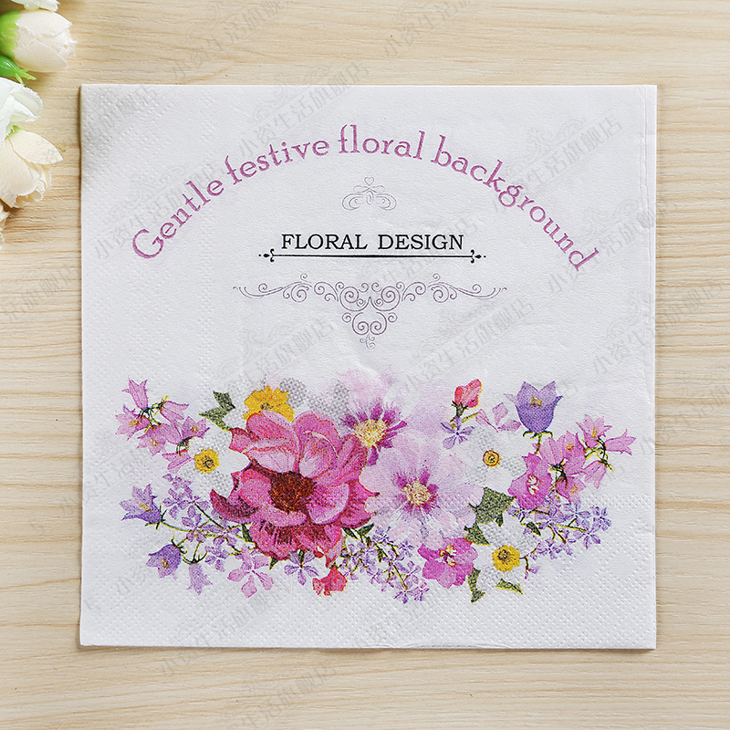 New High-grade Floral Design Flowers Paper Napkins Cafe&Party Tissue Napkins Decoupage Decoration Paper 33cm*33cm 20pcs/pack/lot