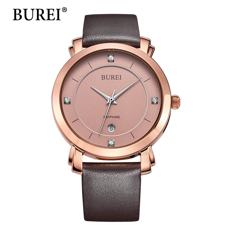 BUREI Women Watches Top New Fashion Brand Sapphire Lens Female Clock Pu Leather Strap Waterproof Gold