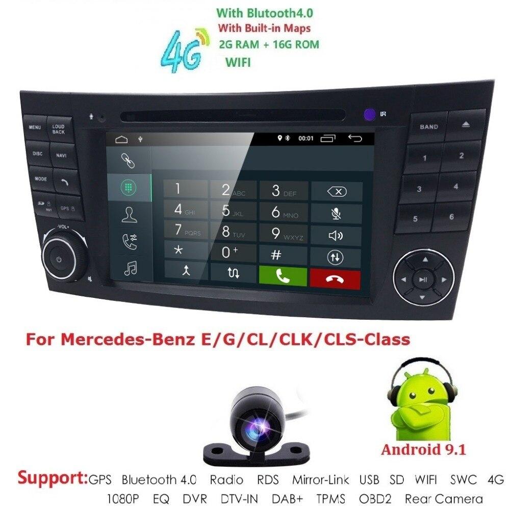 Lecteur multimédia de voiture deux Din lecteur DVD Android 9.1 pour Mercedes/Benz/classe E/W211/E300/CLK/W209/CLS/W219 GPS Radio 16 GB Nav BT