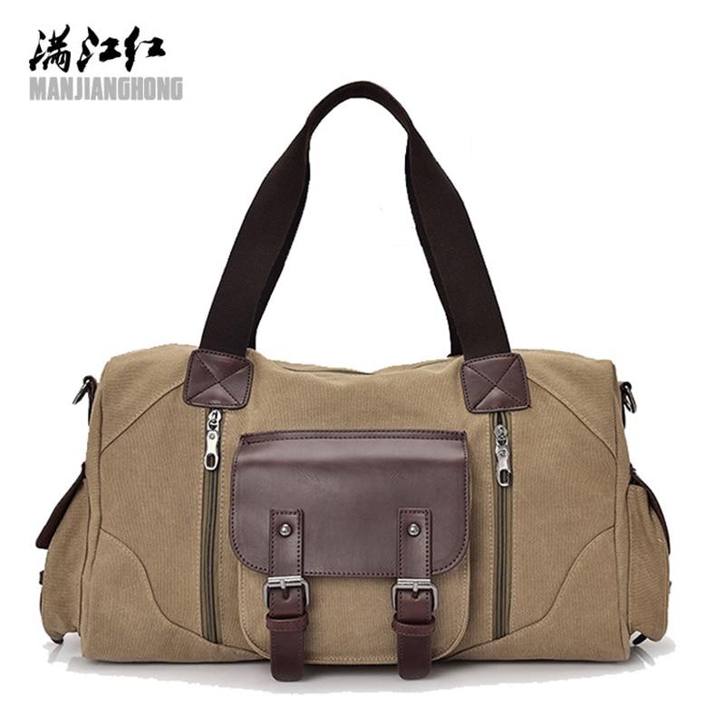 Manjianghong Brand Men's Travel Bag Men Canvas Business  Travel Duffle Casual Handbag High Capacity Quality Bags