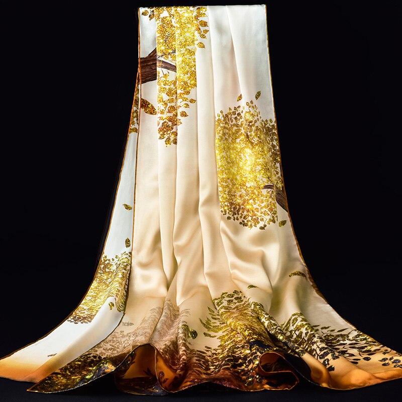 100% châles en soie véritable enveloppes femmes 2019 imprimer luxe Hangzhou Pure soie naturelle Foulard foulards pour dames Foulard Femme 190X85cm