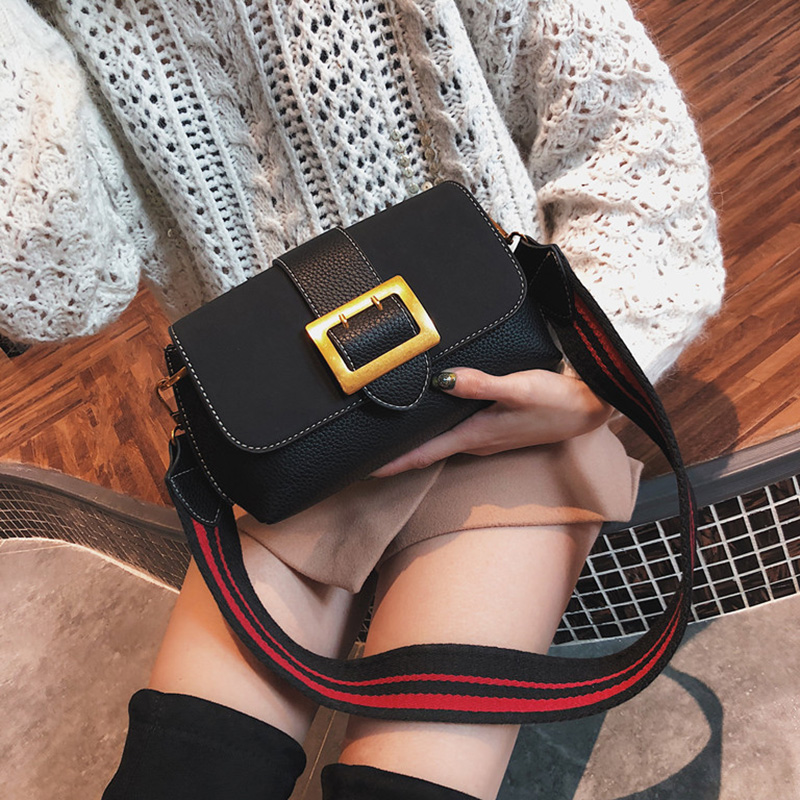 Buckle PU Leather Hasp Shoulder Bags Solid Stripe Wide Strap Messenger Hobos Crossbody Small Cute Flap Bags