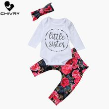 Chivry 3Pcs Newborn Kids Baby Girl Clothes Rompers Bodysuit + Floral Pants Headband Infant Girls Outfits Clothing Set