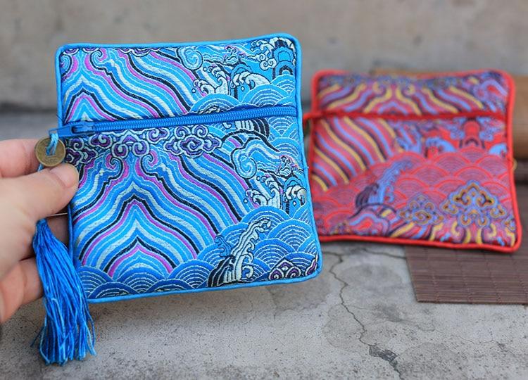 Wave Small Zipper Coin Purse Bag Jewelry Chinese Silk Brocade Pouch Bracelet Gift Bag Credit Card Holder Women Pocket 3pcs/lot