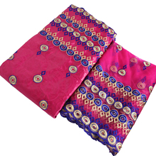 2019 diy cloth pink blue lace embroidery African guinea brocade fabric african bazin riche nigerian gele headtie 5+2yards/lot