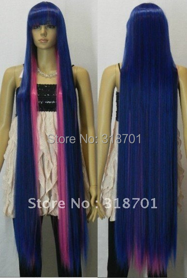 (Free Shipping) 120cm blue The blend color long straight hair Cosplay Wig