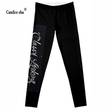 CANDICE ELSA women leggings workout legging fitness female pants elastic words printed sexy trousers plus size