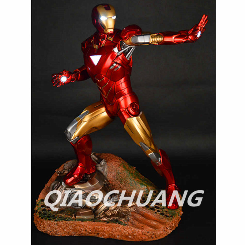 Statue Avengers Captain America 3: Civil War IRON MAN 1:4 Bust Tony Stark MK6 Half-Length Photo Or Portrait With LED Light W219 avengers captain america 3 civil war black panther 1 2 resin bust model panther statue panther half length photo or portrait