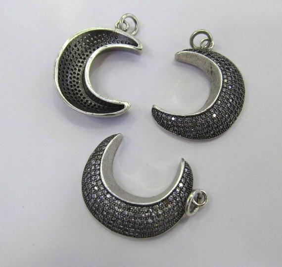 6 pièces 20-30mm Gunemtal Micro Pave Fluorial lune connecteur, pavé diamant CZ pendentif bijoux lien pour collier