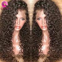 Eva bouclés 360 dentelle frontale perruque pré plumée avec des cheveux de bébé 250% densité dentelle avant perruques de cheveux humains pour les femmes brésiliennes Remy cheveux