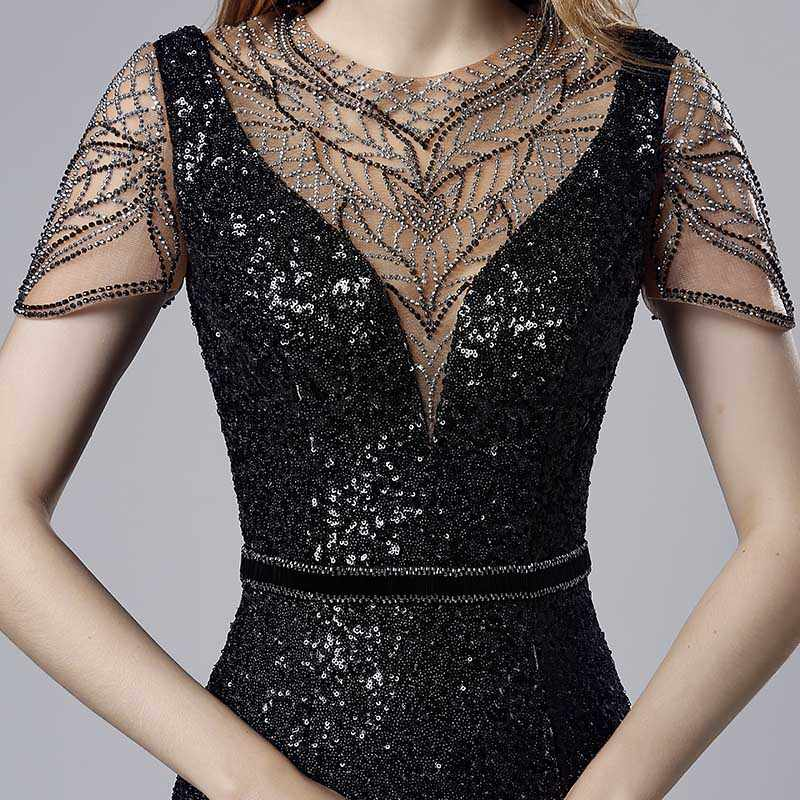 Sequin Cocktail Dress ... Gorgeous Long Black Sequin Evening Dresses with Beading Short Sleeve  Mermaid Celebrity Dress Illusion Back Prom ...