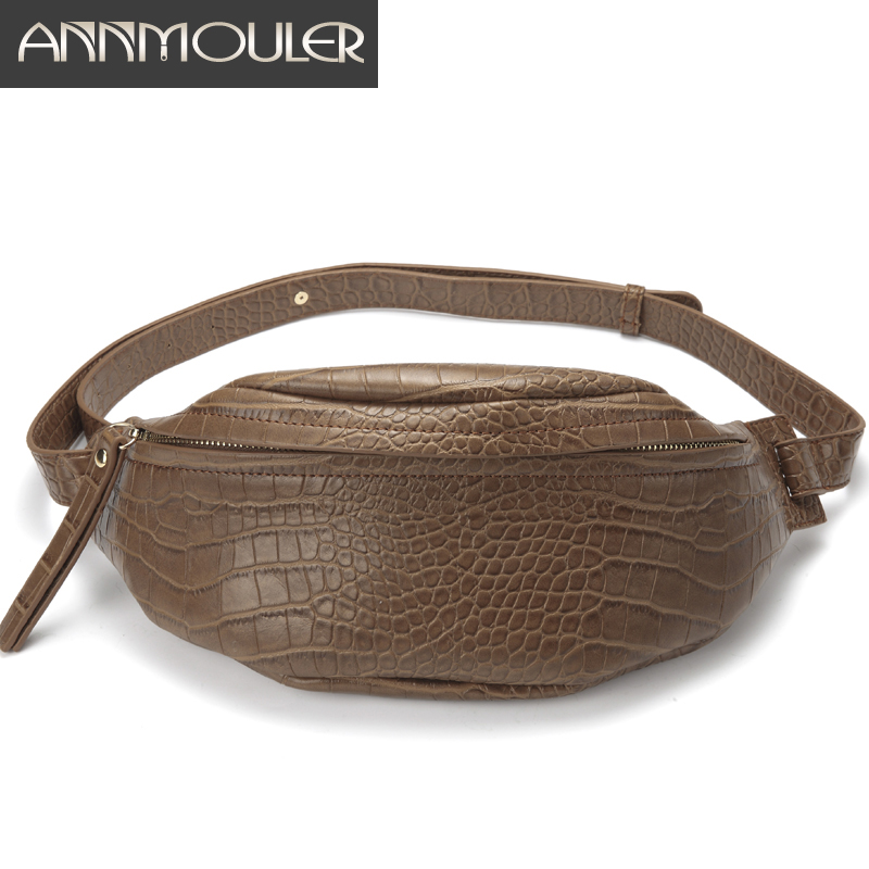 Annmouler Waist Bag Women Large Fanny Pack Pu Leather -6735
