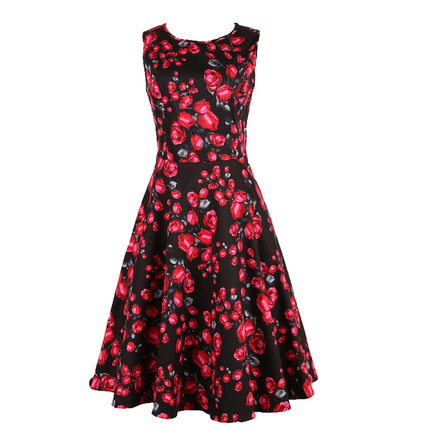 New Fashion Elegant Floral Rose Printed Plus Size Dresses 60s