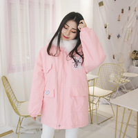 2019 Hot Spot Cute Girl Students Pink Soft Sister Qiu Dong Cotton And Wool Manufacturer Direct Thickening Warm Coat