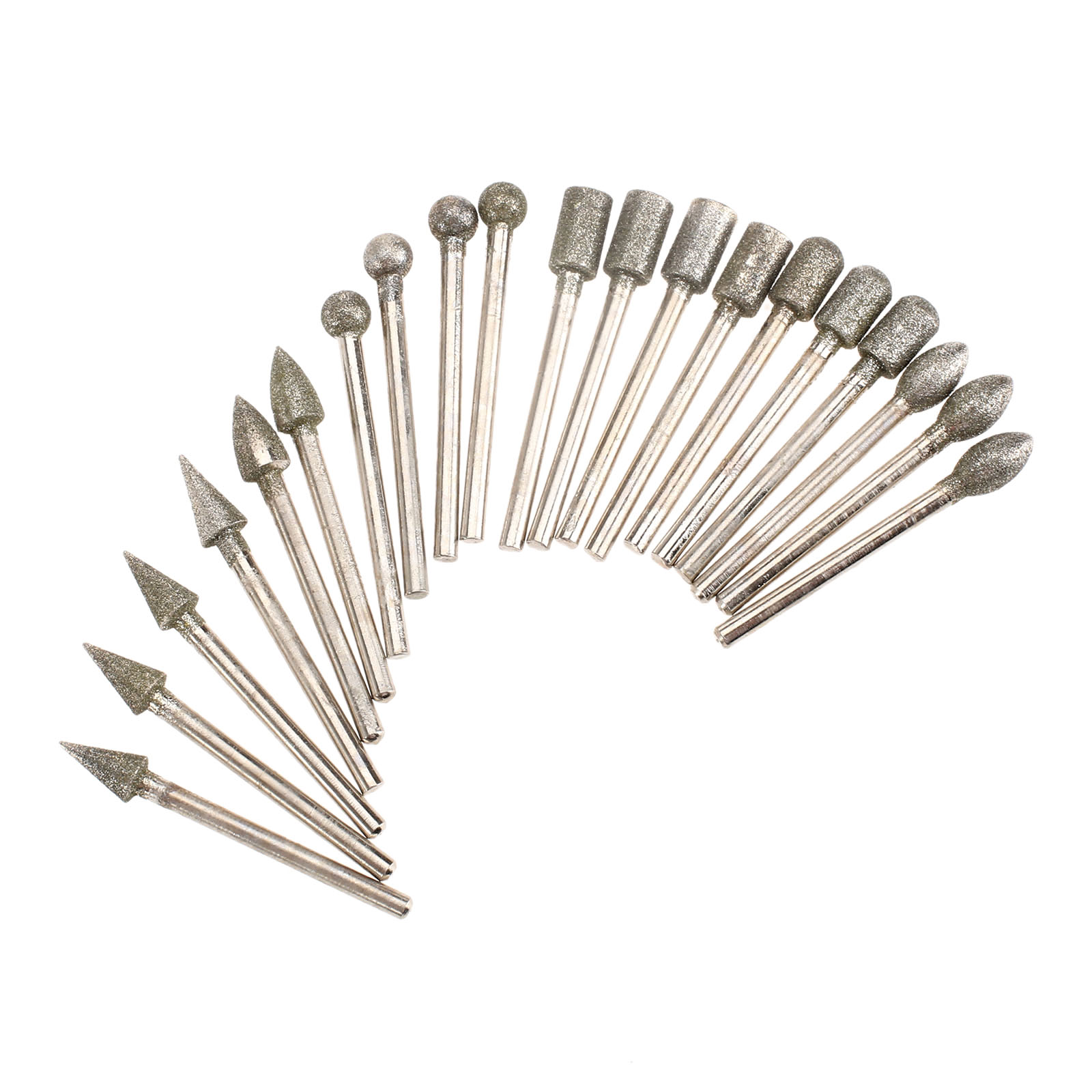 20Pcs Dremel Accessories Diamond Grinding Heads Mini Drill Burrs Bit Set For Dremel Rotary Tool Grinding Accessories 3mm Shank