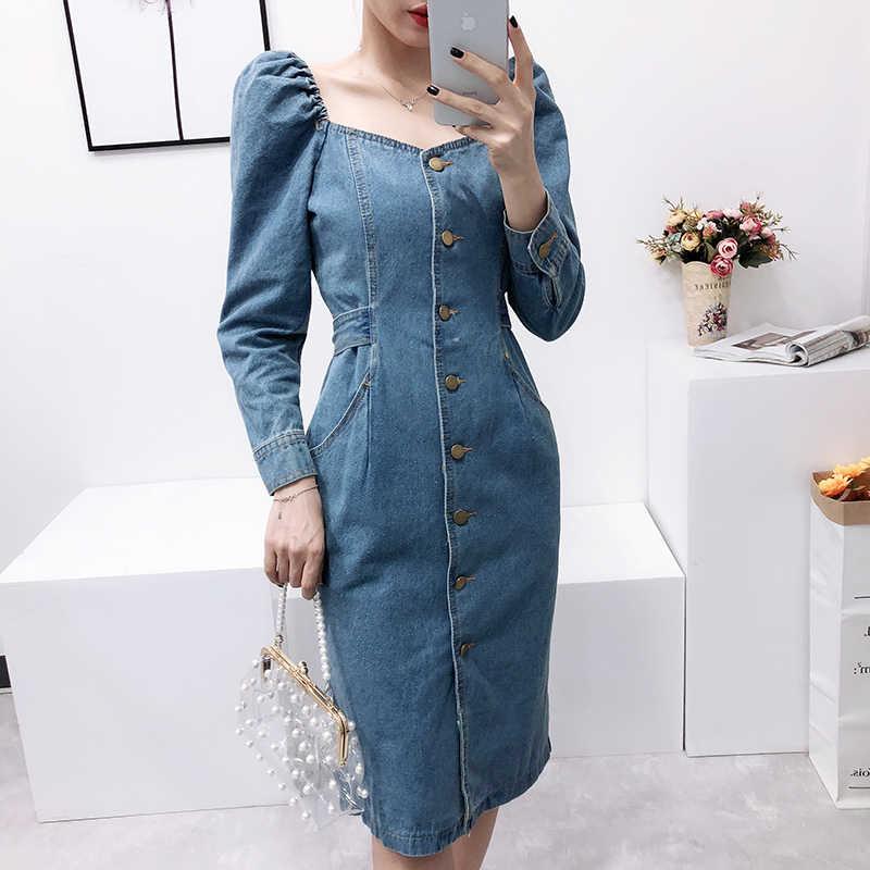 Весенне-осеннее модное платье с разрезом из джинсовой ткани, облегающее джинсовое с v-образным вырезом