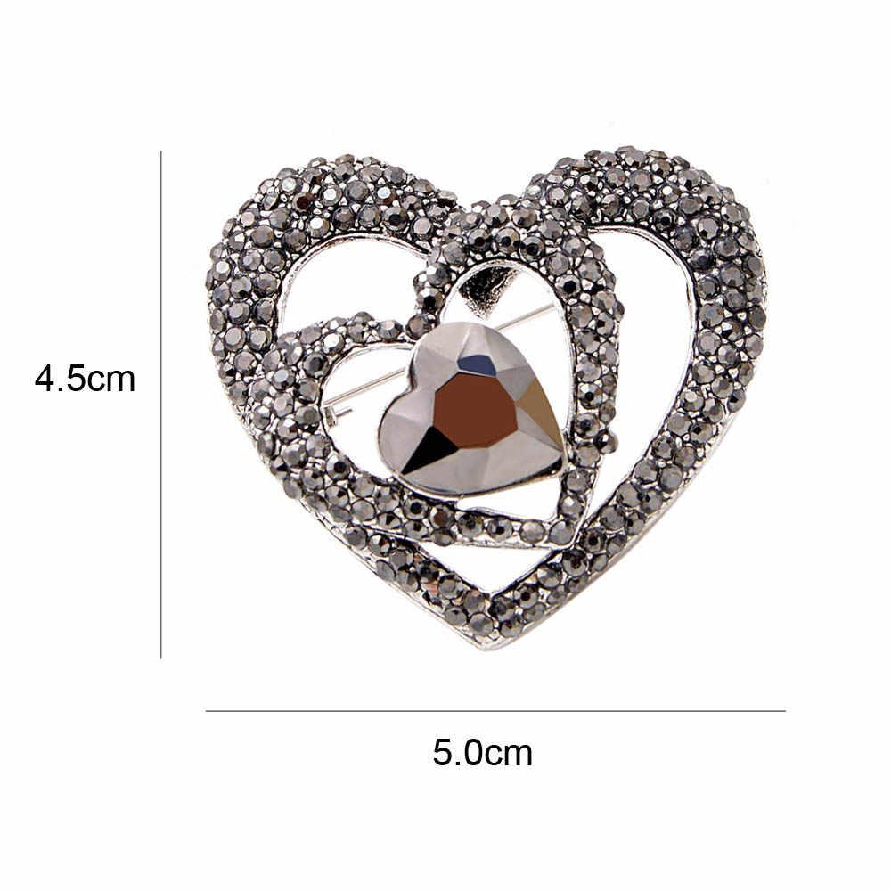 Cinkile Berkualitas Tinggi Korea Jantung Bros Pin Ganda Jantung Hollow Bentuk Berlian Imitasi Bros untuk Wanita Bros Korsase Kerah Klip