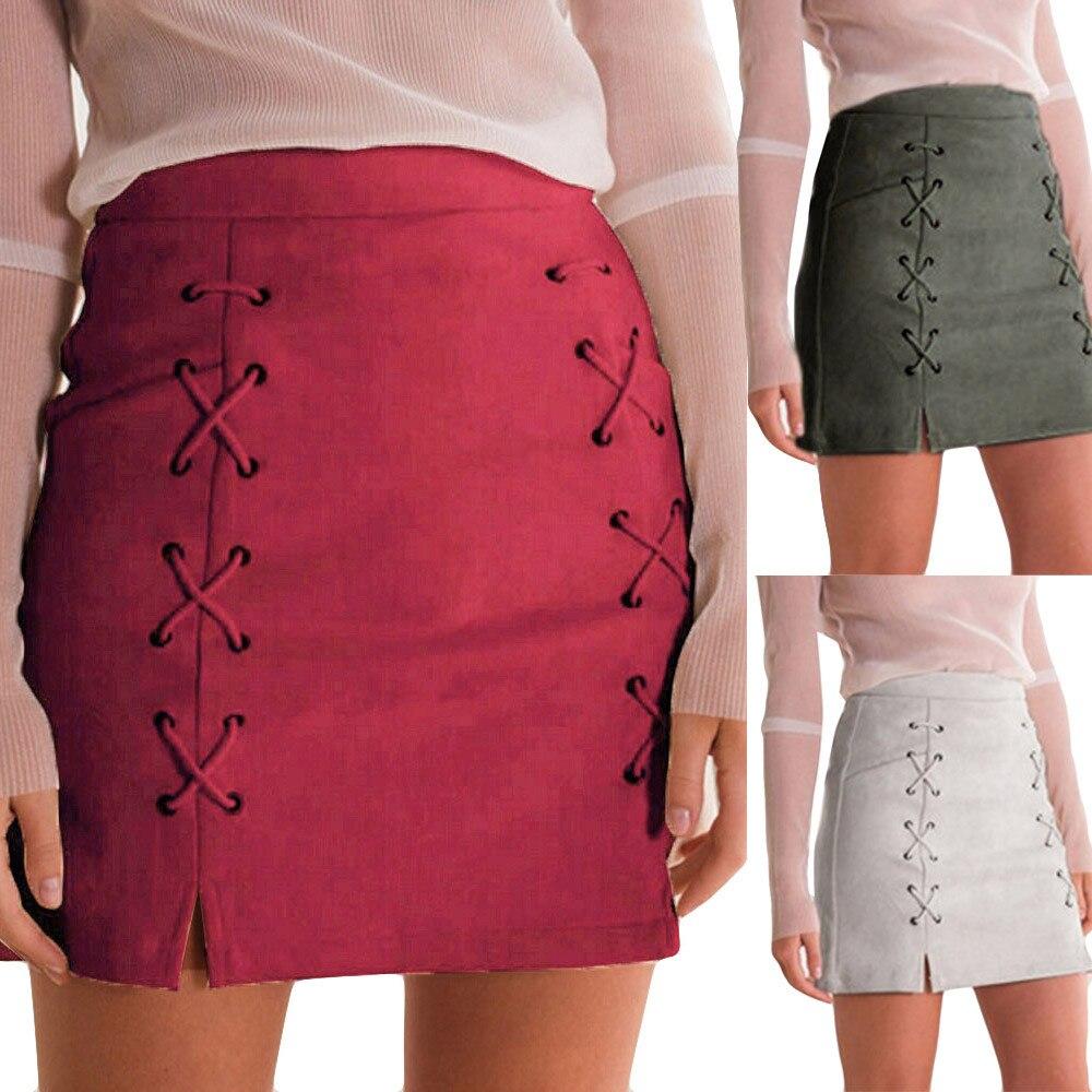 9cc525e86 Moda naranja de moda de alta cintura Faux falda de cuero sexy ...