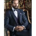 The new Style men suits Navy Blue Gentleman Groom Tuxedos  Men Wedding Prom Suits(Jacket+Pants+Vest)