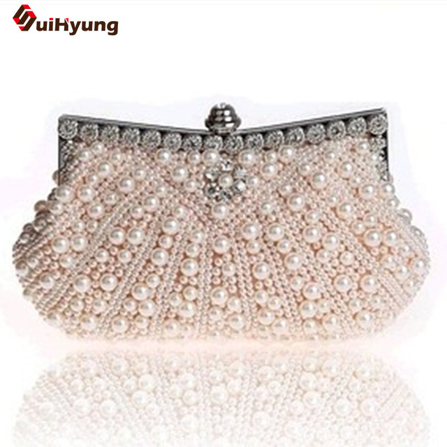 New Double-Sided Pearl Evening Bag. Shell-type Beaded Day Clutches Diamond Flowers Bridal Handbag Women Crossbody Little Bag