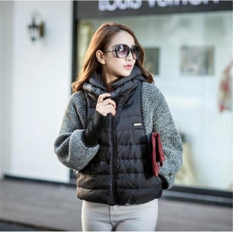 2016 New Fashion Female Women's Winter   Down     Coat   Jacket Sleeve Wool Knit Splicing Bat Sleeve Cape Short Female Warm Jacket