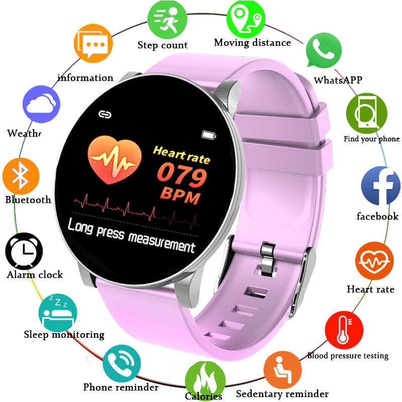 Baru Olahraga Tahan Air Smart Watch Wanita Gelang Pintar Bluetooth Monitor Detak Jantung Kebugaran Tracker Smartwatch Metal Case
