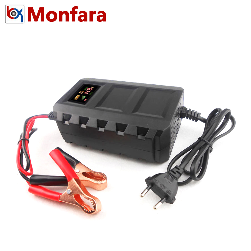 12 v 10A Automatique Voiture Moto Batterie Chargeur 20AH-120AH Au Plomb AGM GEL Batteries De Bateau Flottant De Charge 8A 100AH LCD LED