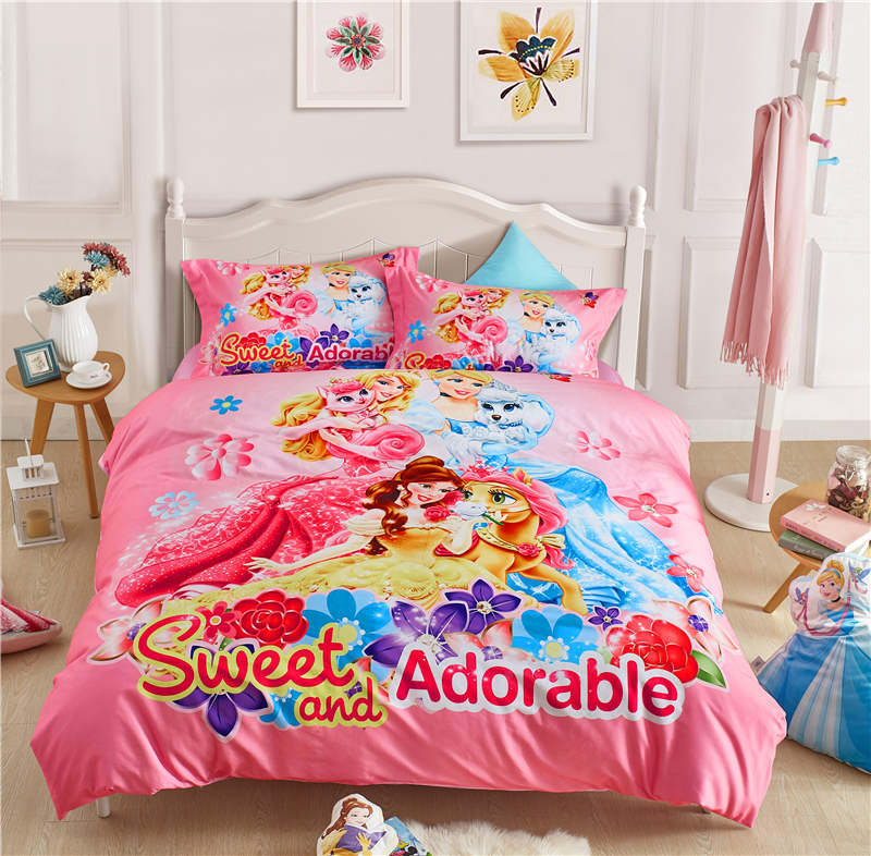 US $85.69 30% OFF|girls queen size bed set pink disney cartoon bedding 3D  princess bed linens 4pc home textile autumn winter bedspread sanding kid-in  ...