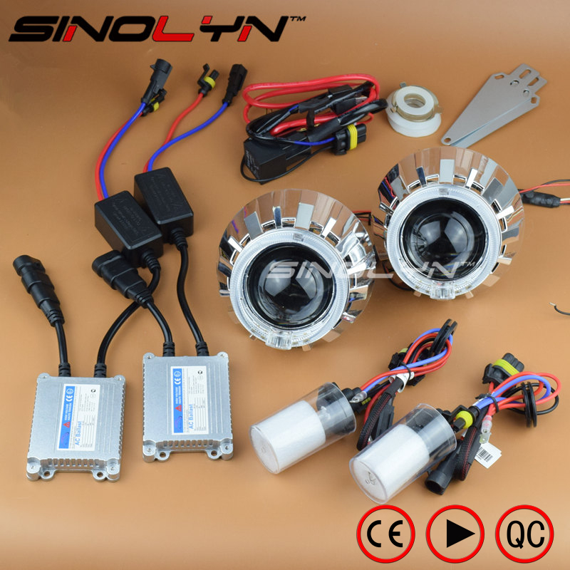 SINOLYN Automobiles LED Angel Eyes Halo HID Bixenon Car DIY Projector Lenses for the Headlights Kit Car Accessories Retrofit sinolyn 3 0 super hid bixenon lenses headlight car projector lens square u led angel eyes halo daytime running lights headlamp