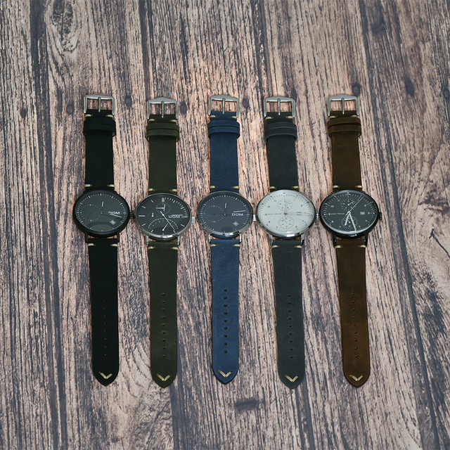 BEAFIRY Genuine Leather Watch Band 18 20 22mm Brown Blue Green Grey Black Crazy Horse Calfskin Leather Watch straps